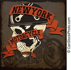Motorcycle Skull tee graphic design