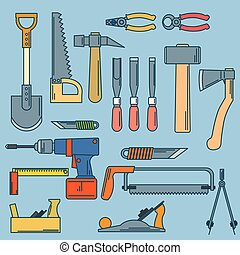 set of hand tools for productive work. Vector illustration.