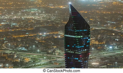 Kuwait City cityscape night timelapse is the capital of Kuwait.