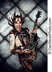 steampunk rock star - Rock musician in a steampunk costume...