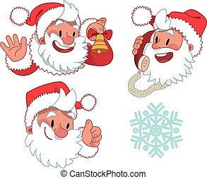 Three expressions of Santa Claus character - the set of flat...