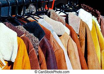 Coats - Rack with second hand retro winter coats