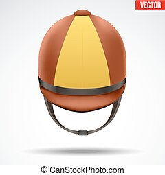 Classic Jockey helmet - Classic Brown and Yellow Jockey...