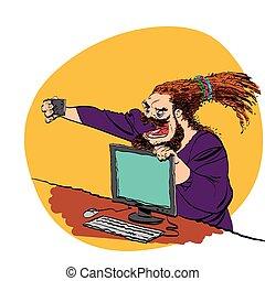 Brutal bearded man selfie line art caricature. Smartphone...