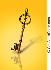 Old Gold vintage key in white background