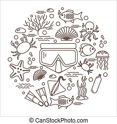 Diving icons set with fish and equipment