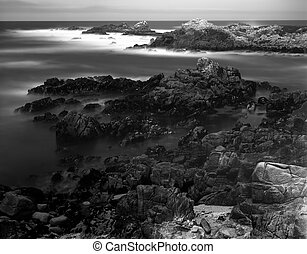 Time Lapse Asilomar State Marine Reserve - Black and White...