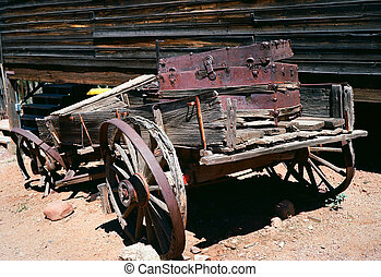 Old Wooden Wagon - Old broken down wooden wagon in a ghost...
