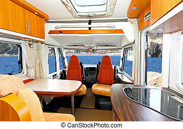 Camper interior - Interior of dining area in recreation...