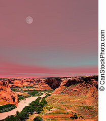 Moonrise Canyon de Chelly Navajo indian reservation northern...