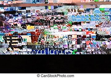 Television screen with static noise Television bad signal...