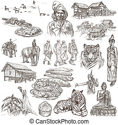 Laos. Pictures of Life. Freehands on white. - Travel series,...