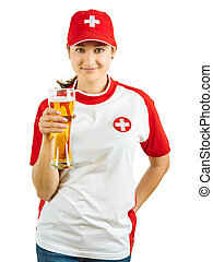 Smiling Swiss sports fan