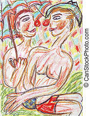 Funny clowns in summer - Oil pastel painting of two funny...