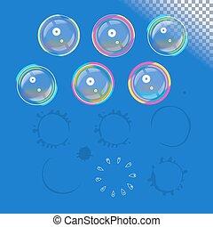 Vector soap bubbles set