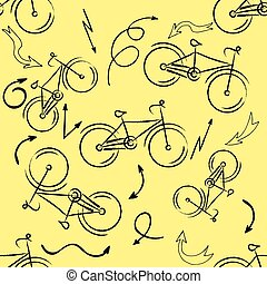 Seamless bicycles pattern Stylish sporty print Vector...