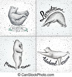 Set of Vector illustrations. fun a bears isolated on vintage...