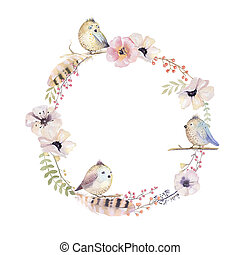 Watercolor floral wreath. Watercolour natural frame: leaves,...