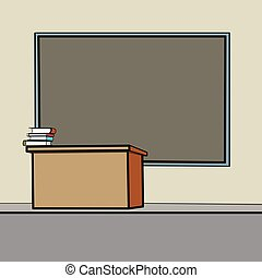 School Desk blackboard line art caricature. Education...