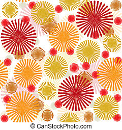 Retro pattern with abstract colored flowers