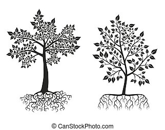 Black trees and roots silhouettes with leaves Vector set -...