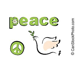 Paper applique with peace symbolic