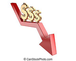 Gold dollar sign on a red arrow down