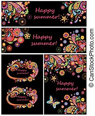 Set of summery decorative poster