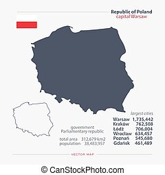 poland - Republic of Poland isolated maps and official flag...