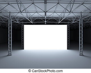 Abstract illuminated white stage inside of storehouse 3d...