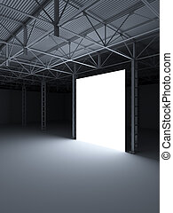 Abstract illuminated white rectangle inside of storehouse 3d...