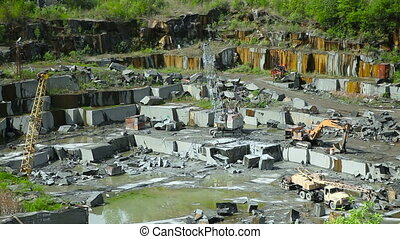Granite mining in stone quarry - Extraction of granite stone...