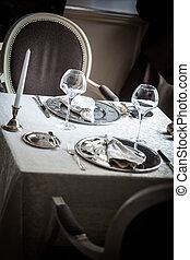 Dinner table - Empty dinner table in a luxury restaurant