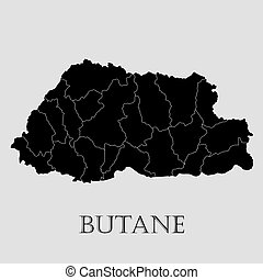 Black Butane map - vector illustration - Black Butane map on...