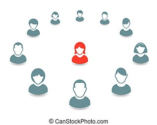 Human portrait and Icon Vector Illustration Office team and...