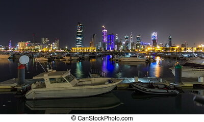 Yachts and boats at the Sharq Marina night timelapse hyperlapse in Kuwait. Kuwait City, Middle East