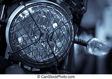 Classic motorcycle headlight - Color image of a classic...