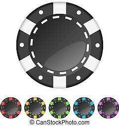 Casino gambling chips isolated on white background.