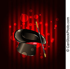 Magic background with top hat and wand - Illustration magic...