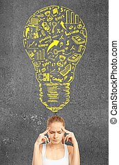 pensive woman - Success concept with pensive woman. close up