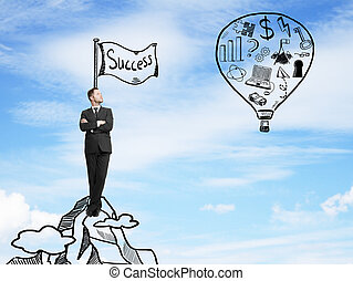 businessman looking on balloon with drawing business symbol...