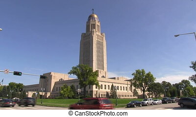 Nebraska Statehouse With Traffic - Nebraska Statehouse...