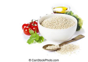 saudável, legumes, tigela,  Quinoa, Sementes, branca