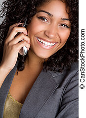 Cell Phone Woman - Smiling black woman on cell phone