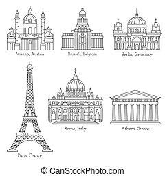 European landmarks line icons - Set of world landmarks in...