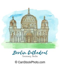 European landmark vector illustration - Berlin Cathedral in...