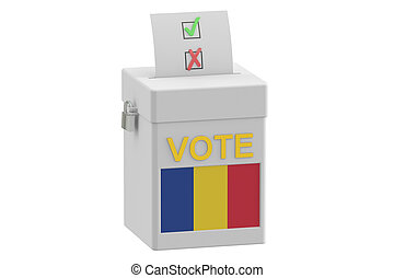 voting concept Ballot box with flag of Romania, 3D rendering...
