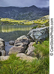Amazing view of The Trefoil lake, Rila Mountain, The Seven...