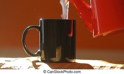 Streamin hot tea cup - Streaming tea or coffee closeup