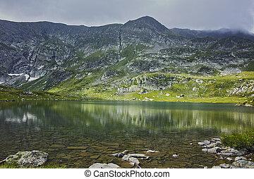 The Twin lake, Rila Mountain - Panorama of The Twin lake,...